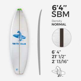 6'4'' SBM Shortboard - Green density - 3/32'' Black/Black Ply stringer, ARCTIC FOAM