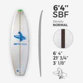 6'4'' SBF Shortboard - Green density - costilla de 3/32'' Black/Black Ply, ARCTIC FOAM