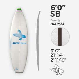 "6'0'' SB Shortboard - Green density - costilla 3/32"" Black/Black Ply, ARCTIC FOAM"