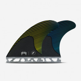 MAYHEM / LOST - Medium RTM Hex Yellow / Blue Signature fins, FUTURES.