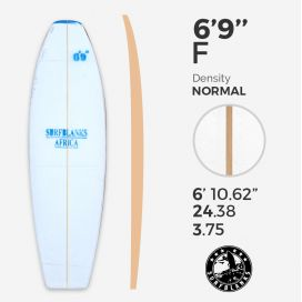 6'9'' F Fish - Blue Density - 4mm Obs stringer, SURFBLANKS