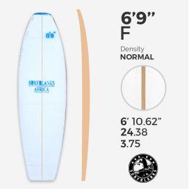 6'9'' F Fish- Blue Density - latte 4mm Obs SURFBLANKS