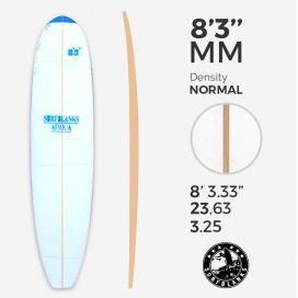 8'3'' MM Malibu - Blue Density - 6mm Obs stringer, SURFBLANKS