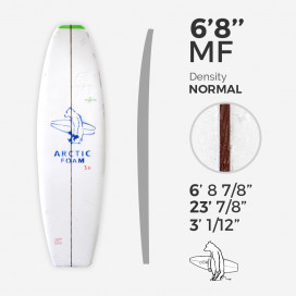 6'8'' MF Fish - Green density - stringer 1/8 Dyed Basswood Brown, ARCTIC FOAM