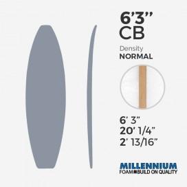 6'3'' CB hand shape Shortboard Millennium Foam : Latte - 1/8 Team Aussie Ply - T3