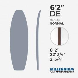 """6'2'' DE Fish - latte 3/16"""" red cedar, MILLENNIUM FOAM"""