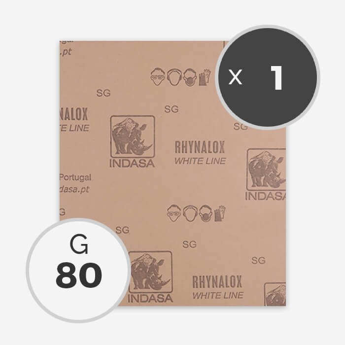 Papier à poncer à sec - grain 80 (1 feuille), INDASA
