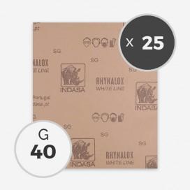 Papier à poncer à sec - grain 40 (25 feuilles), INDASA