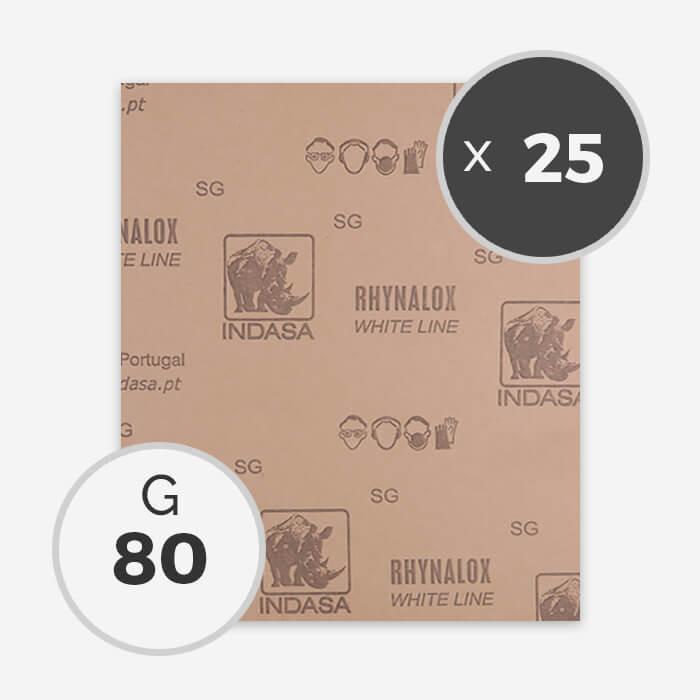 Papier à poncer à sec - grain 80 (25 feuilles), INDASA