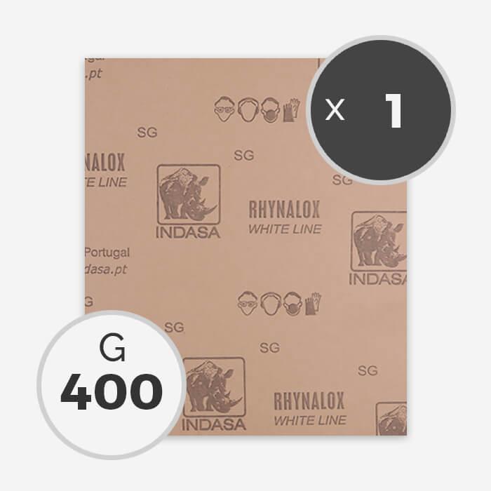 Papier à poncer à sec - grain 400 (1 feuille), INDASA
