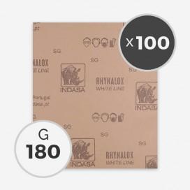 Papier à poncer à sec - grain 180 (100 feuilles), INDASA