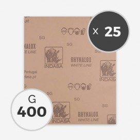 Papier à poncer à sec - grain 400 (25 feuilles), INDASA