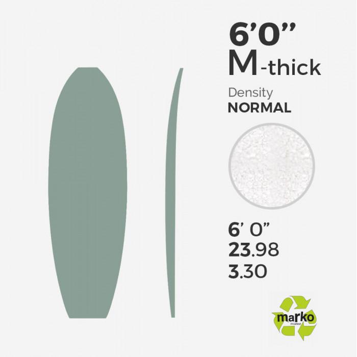 6'0'' M Thick EPS - 6'0'' x 24'' x 3,30'' - sans latte, MARKO FOAM