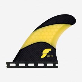 4.00 QD2 rear fins Techflex yellow, FUTURES.