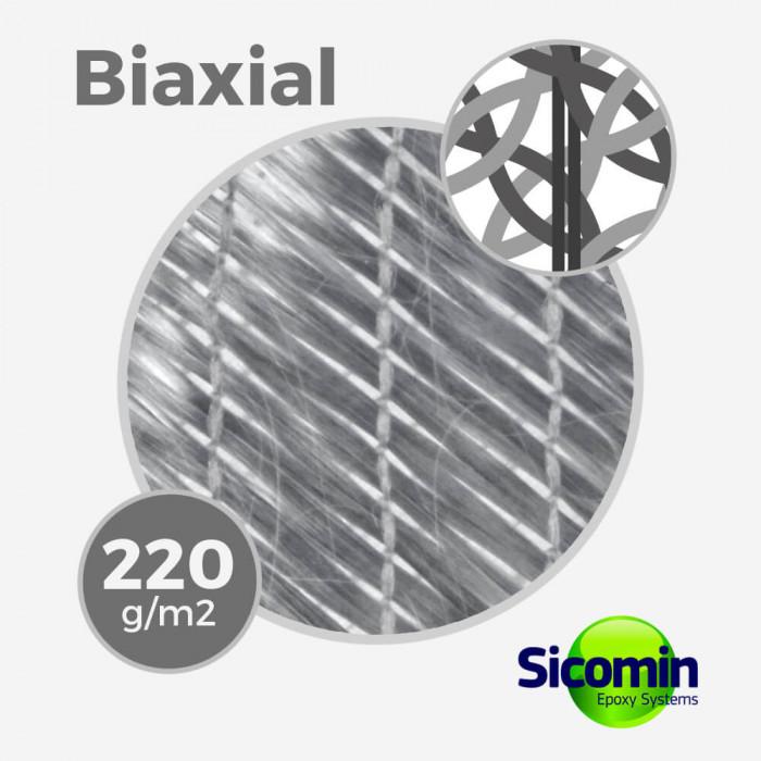 Tissu de fibre de verre biaxial BX 220 gr/m, largeur 127cm, FLEXGLASS