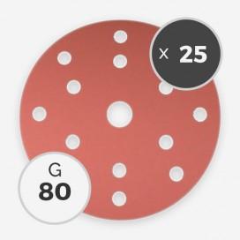 Disque à poncer - diam. 150mm - grain 80 (25 disques), INDASA
