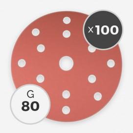 Disque à poncer - diam. 150mm - grain 80 (boîte de 100 disques), INDASA