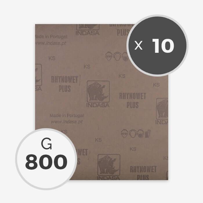 Papier à poncer à eau - grain 800 (10 feuilles), INDASA