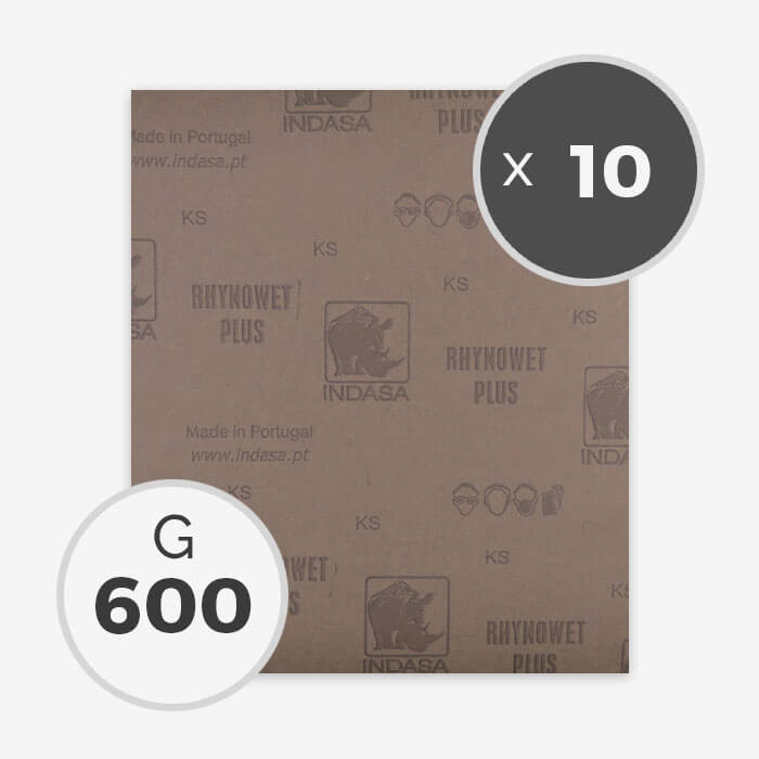 Papier à poncer à eau - grain 600 (10 feuilles), INDASA