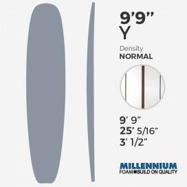 "9'9'' Y Longboard Millennium Foam - Latte 1/2"" Cedar center + 2 x 5/32"" Red Cedar"