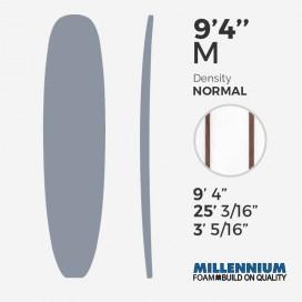 "9'4'' M Longboard Millennium Foam : Latte - 2 x 1/4"" Red Cedar"