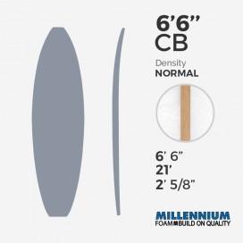 "6'6'' CB hand shape Shortboard Millennium Foam - Latte 1/8"" Bass Ply Natural/Black/Natural"