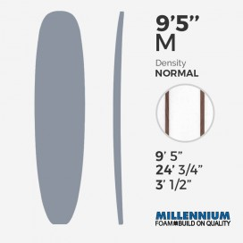 "9'5'' M Longboard Millennium Foam - latte 2 x 1/4"" Red Cedar offsets stringers at 2"" from center, MILLENNIUM FOAM"