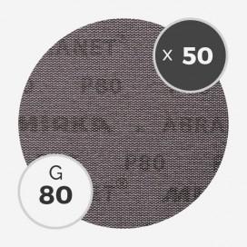 Boite de 50 disques abrasifs Abranet diamètre 200mm - grain 80, MIRKA