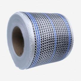 Bande de renfort hybride fibre de verre et carbone - fils bleu, largeur 80mm