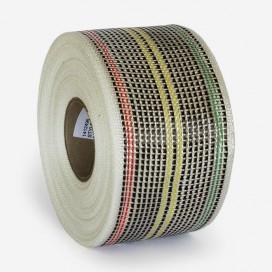 Bande de renfort hybride fibre de verre et carbone - fils couleurs rasta, largeur 80mm