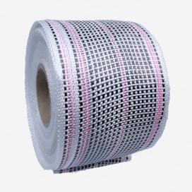 Bande de renfort hybride fibre de verre et carbone - fils roses, largeur 80mm
