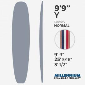 """9'9'' Y Longboard Millennium Foam - Latte 3/8"""" foam blue + 3/8"""" foam + 3/8"""" foam red + 2x 1/4"""" Cedar"""