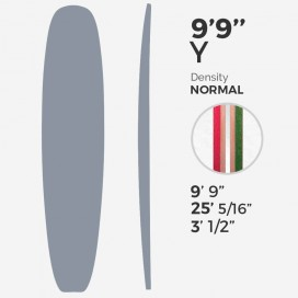 "9'9'' Y Longboard - Latte 3/8"" green + 3/8"" + 3/8"" red foams + T-Band 2x 3/8"" Bass, MILLENNIUM FOAM"