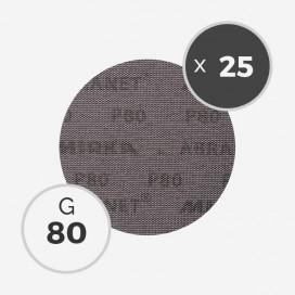25 disques abrasifs Abranet diamètre 150mm - grain 80, MIRKA