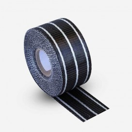 Hybrid carbon and clear fiberglass reinforcement tape