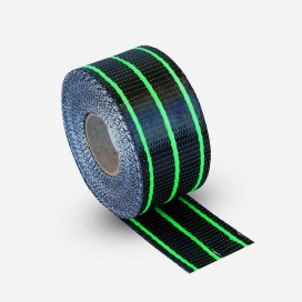 Hybrid carbon and green fiberglass reinforcement tape
