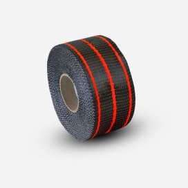Hybrid carbon and red fiberglass reinforcement tape