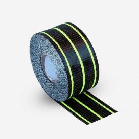 Hybrid carbon and yellow fiberglass reinforcement tape