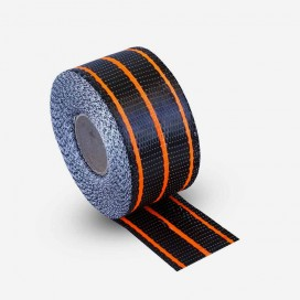 Hybrid carbon and orange fiberglass reinforcement tape