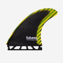 Dérives Thruster - PYZEL Control Series fiberglass Black / Yellow, FUTURES.