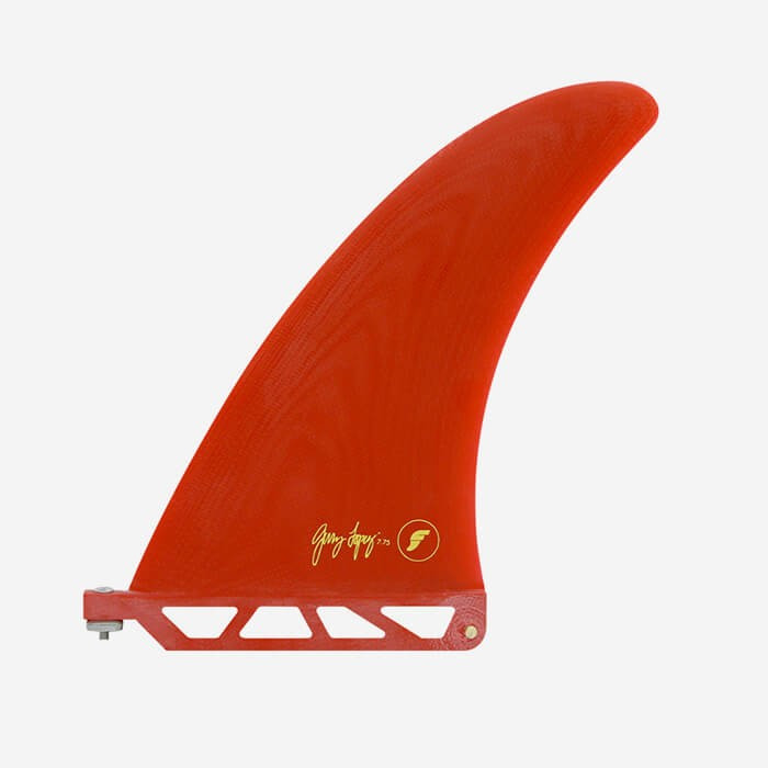 """Longboard fin - Gerry Fiberglass solid Red / transparent Red 7.75"""", FUTURES."""