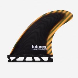 Thruster fins - F4 Control Series fiberglass Black / Orange, FUTURES.