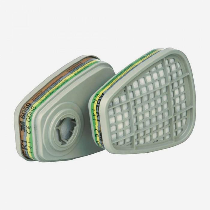 6059 ABEK1 Filtro para vapores orgánicos 2 filtros/caja, 3M