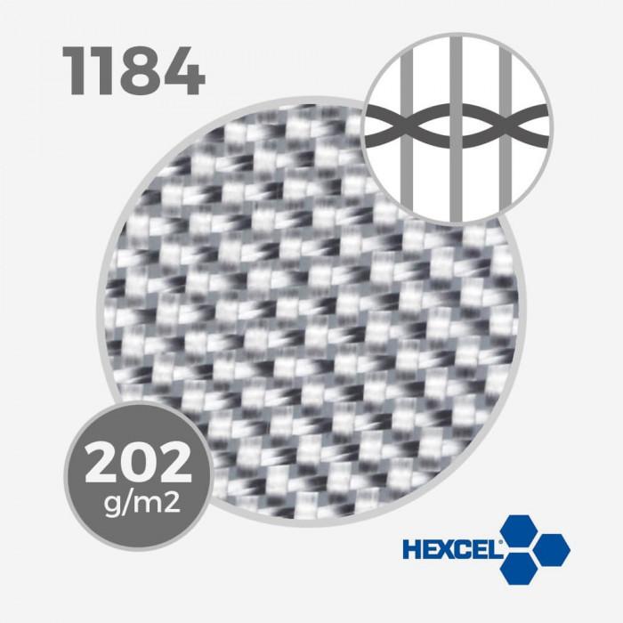 Tissu de fibre de verre ref 1184 - 5.5 oz - 202 gr/m - largeur 80cm, HEXCEL