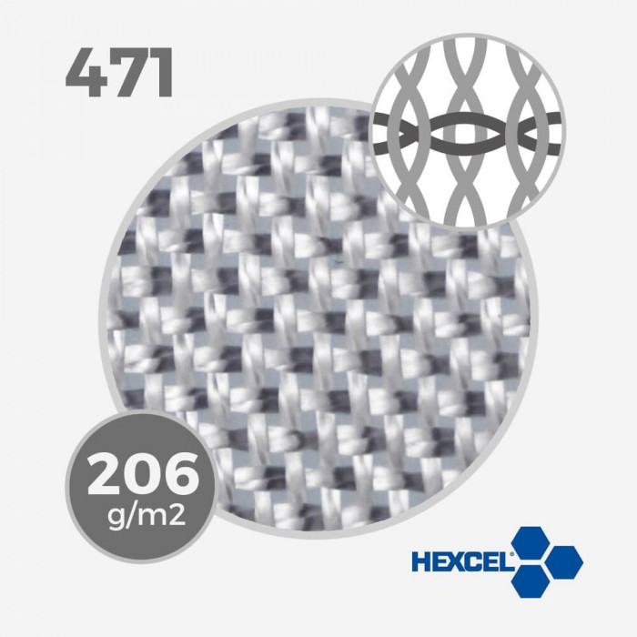 HEXCEL 471 - 5.5 oz - 206 gr/m - largeur 80cm, tissu / fibre de verre HEXCEL pour la stratification d'une planche de surf - VIR
