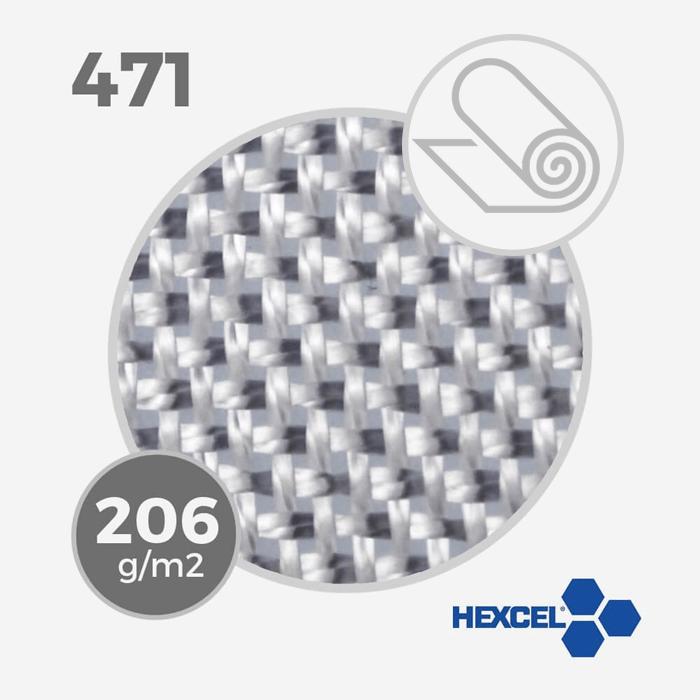Tissu de fibre de verre E ref 471 - 5.5 oz - 206 gr/m - largeur 80cm (rouleau), HEXCEL