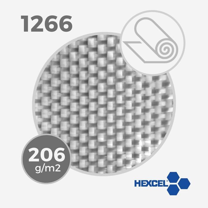 Tissu de fibre de verre ref 1266 - 5.5 oz - 206 gr/m - largeur 130cm (rouleau), HEXCEL