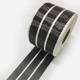 Bande de renfort hybride fibre de verre et carbone avec 3 bandes de carbone UD larges, largeur 100mm
