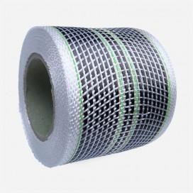 Bande de renfort hybride fibre de verre et carbone - 4 fils verts, largeur 80mm