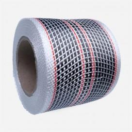 Bande de renfort hybride fibre de verre et carbone - 4 fils rouges, largeur 80mm